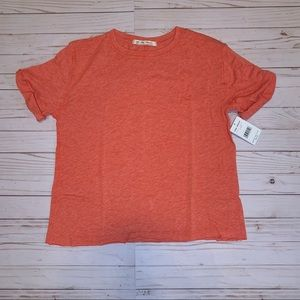 NWT Free People Coral/Poppy Short Sleeve Tee
